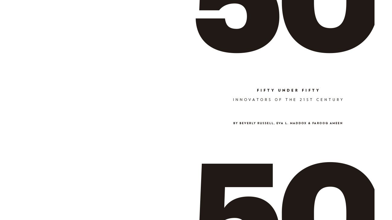 Fifty Under Fifty: Innovators of the 21st Century (BOOK). NOVEMBER 2015 0