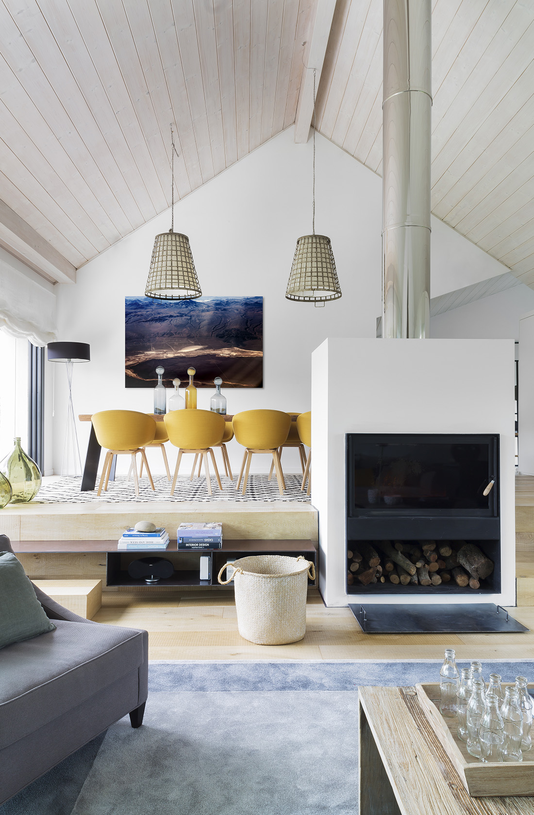 Salón comedor Casa XY, Arquitectura en madera
