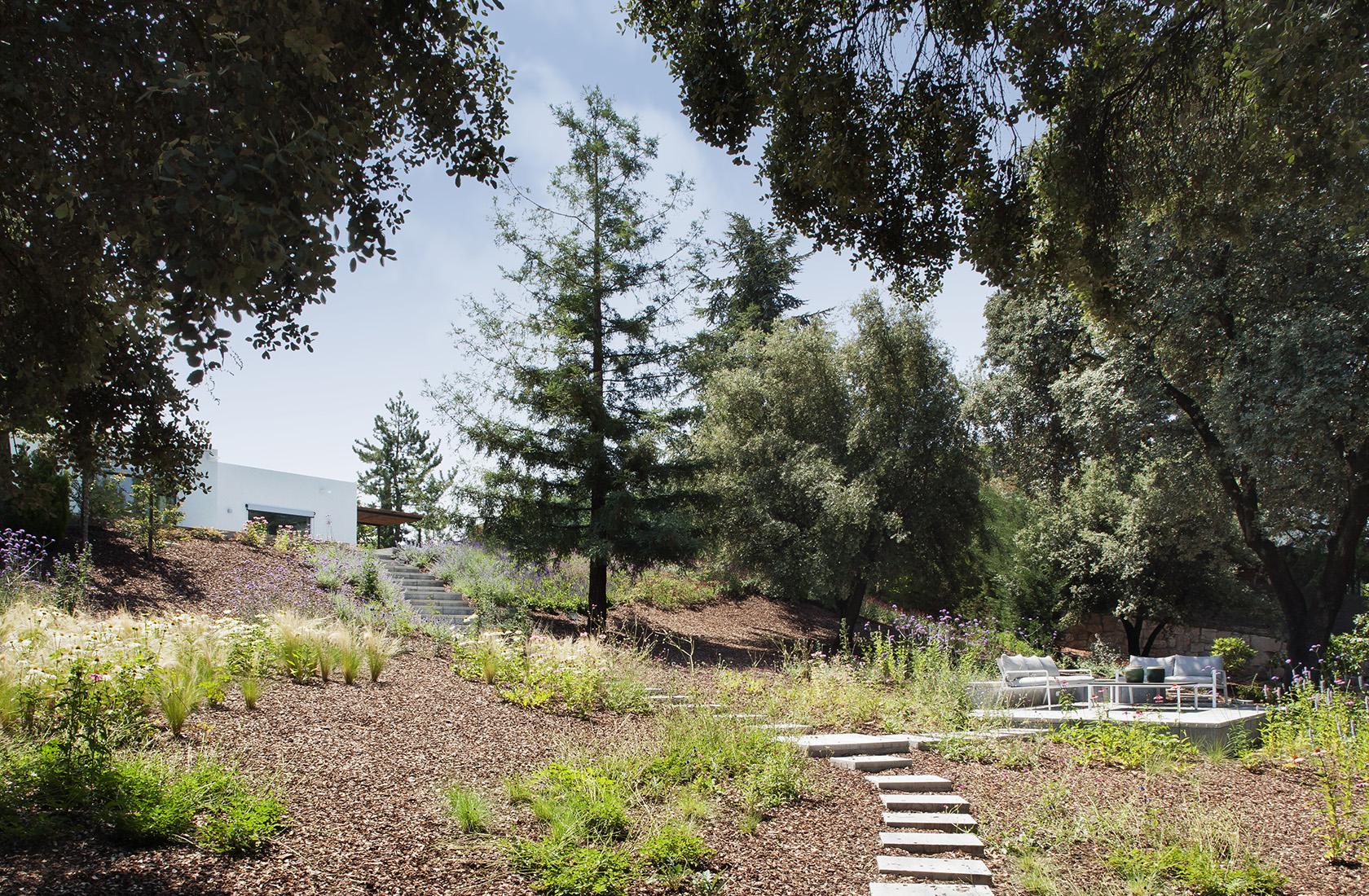 Vista general del Jardín con terraza de la reforma integral en La Moraleja