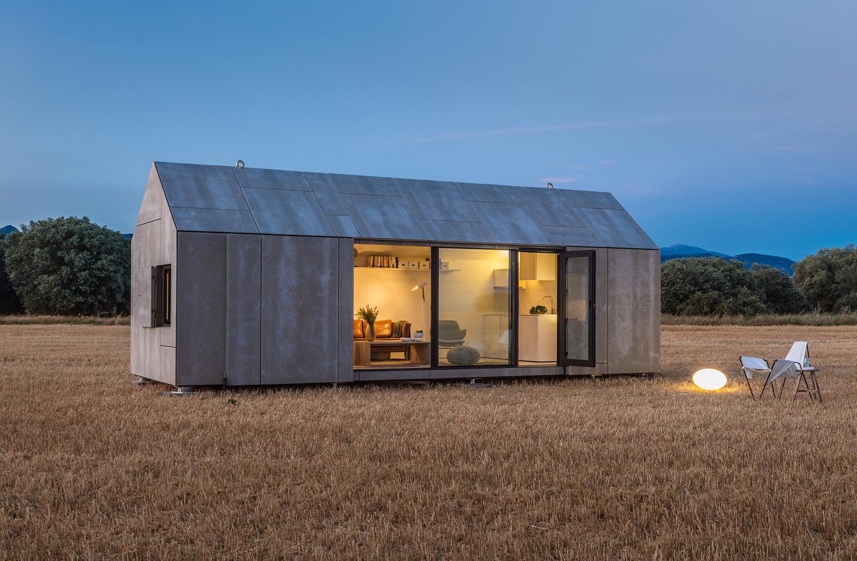 Vista exterior de la vivienda prefabricada transportable en madera aph80